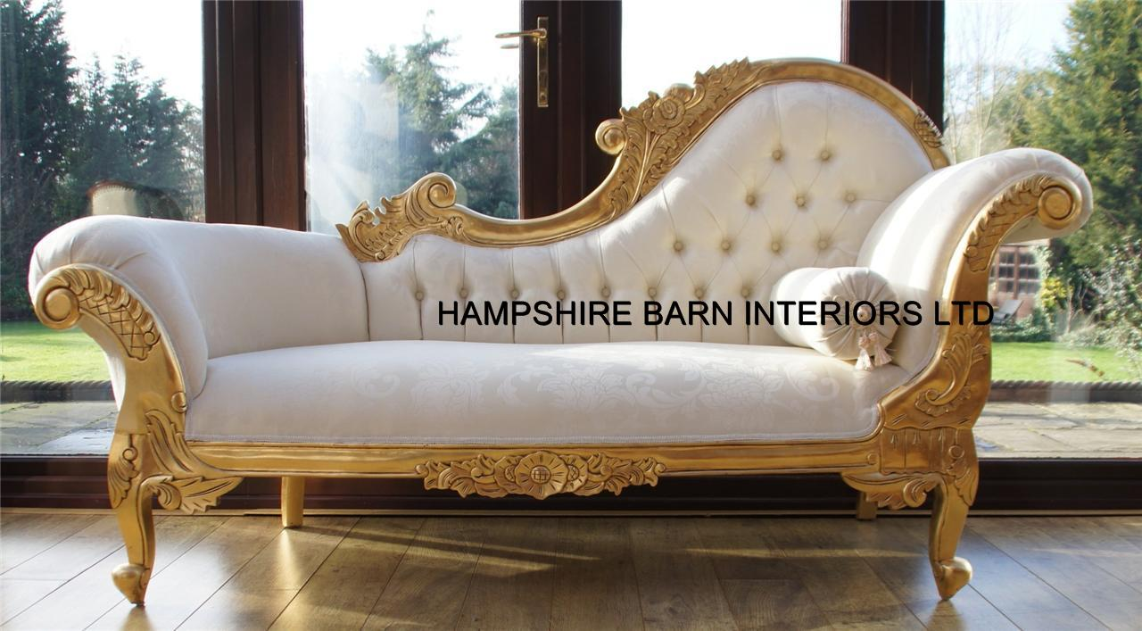 Medium chaise longue hampshire barn interiors part 3 for Black and gold chaise lounge