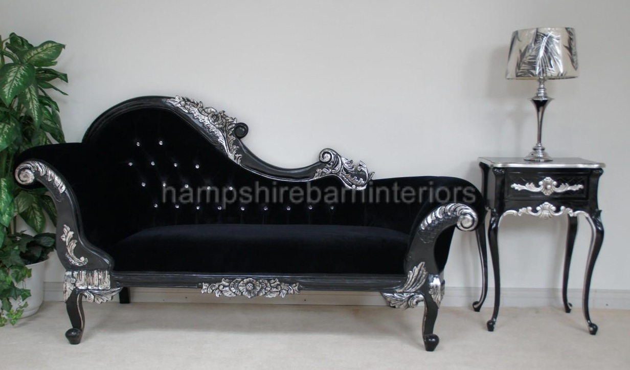 Medium chaise longue hampshire barn interiors part 2 for Black and silver chaise lounge