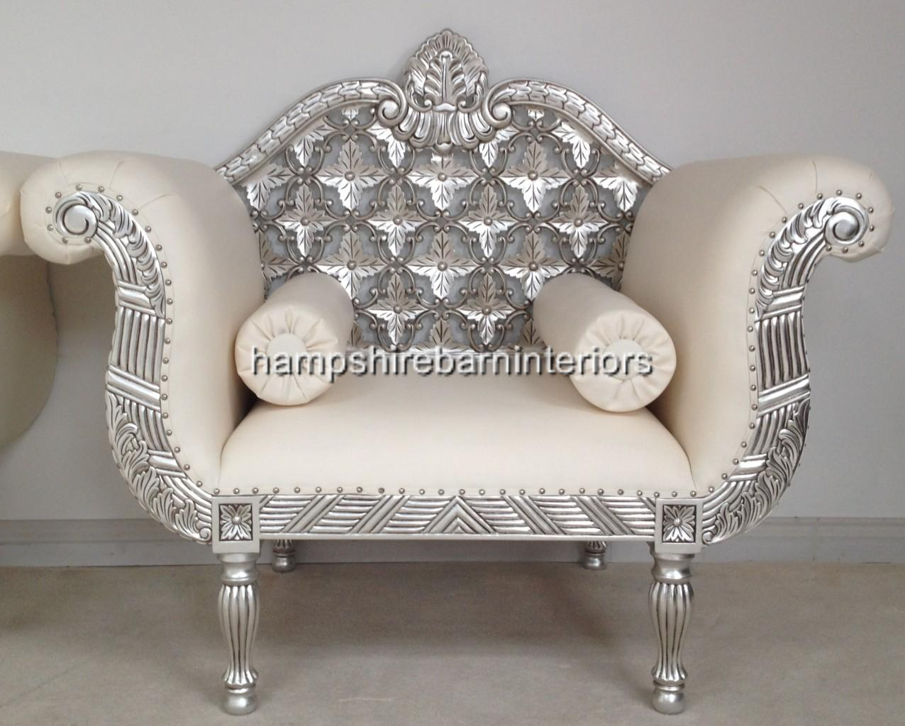 A Royal Wedding Set Sofa Plus Two Chairs In Silver Leaf