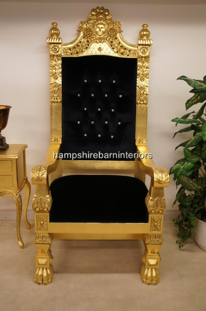 A Queens Throne Chair Gold Leaf Black Velvet And Diamond