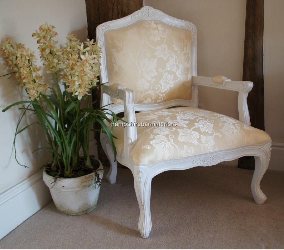 French Louis White Painted Chair With Cream Fabric