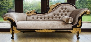 LARGE MAHOGANY AND GOLD CHAISE MINK CRUSHED VELVET
