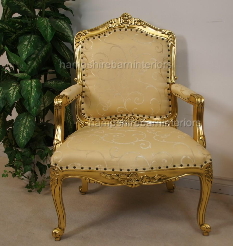 A Large Louis French Chair In Gold Leaf And Gold Fabric