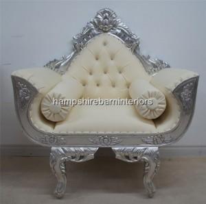 catherine ornate wedding chair silver leaf