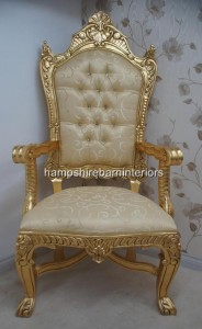 A Beautiful Gold  DIAMOND TRONO ULTIMO DI DIAMANTE in gold leaf gold  upholstery KINGS THRONE