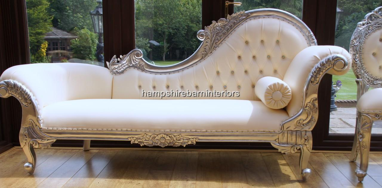 A diamond silver leaf large hampshire chaise with creamy for Large chaise longue