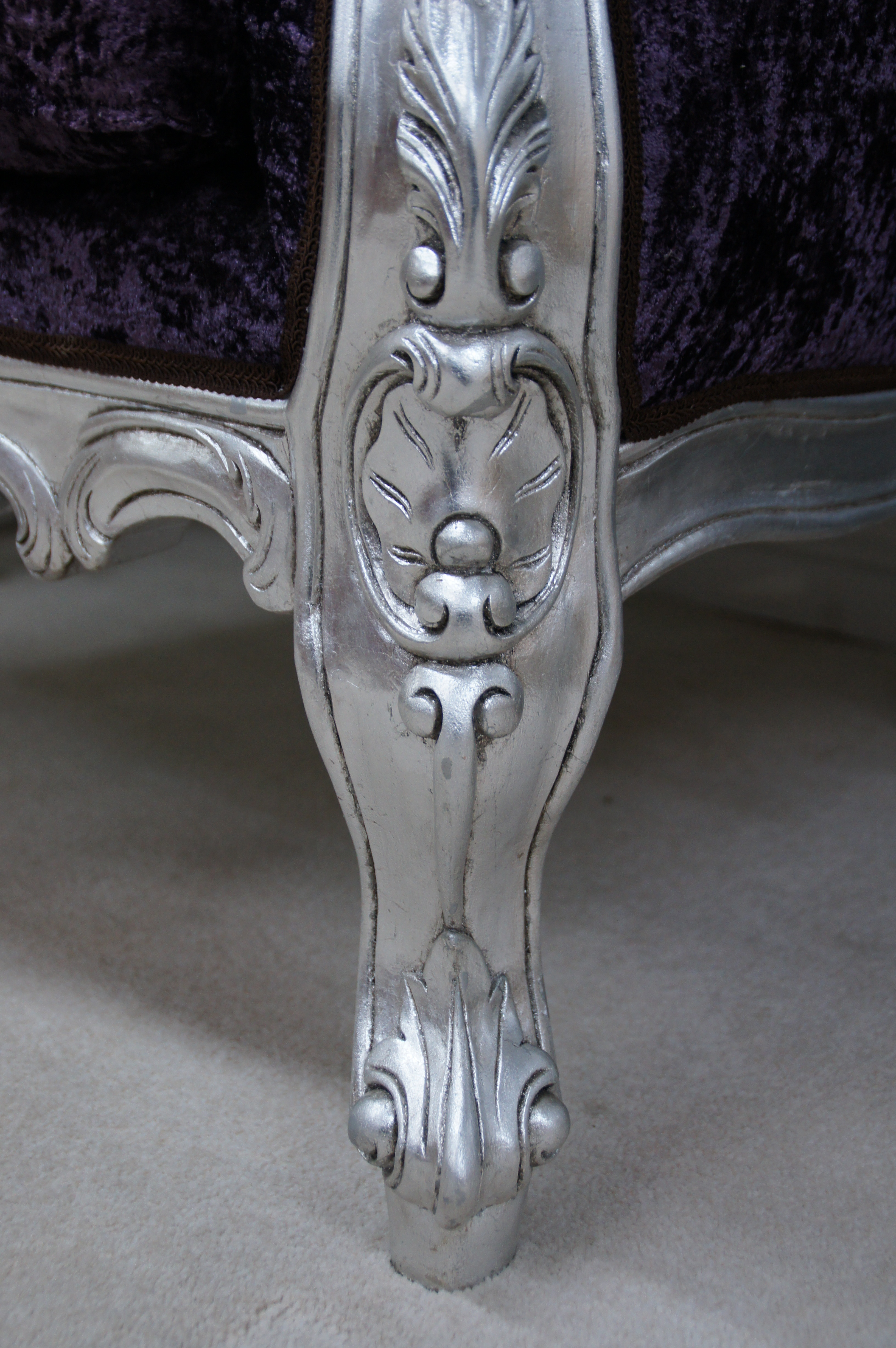 A CRUSHED VELVET ROCOCO SILVER LEAF PURPLE LOUIS HUGE ARM CHAIR SHOP HOME  DIVA @ £675.00 Qty :