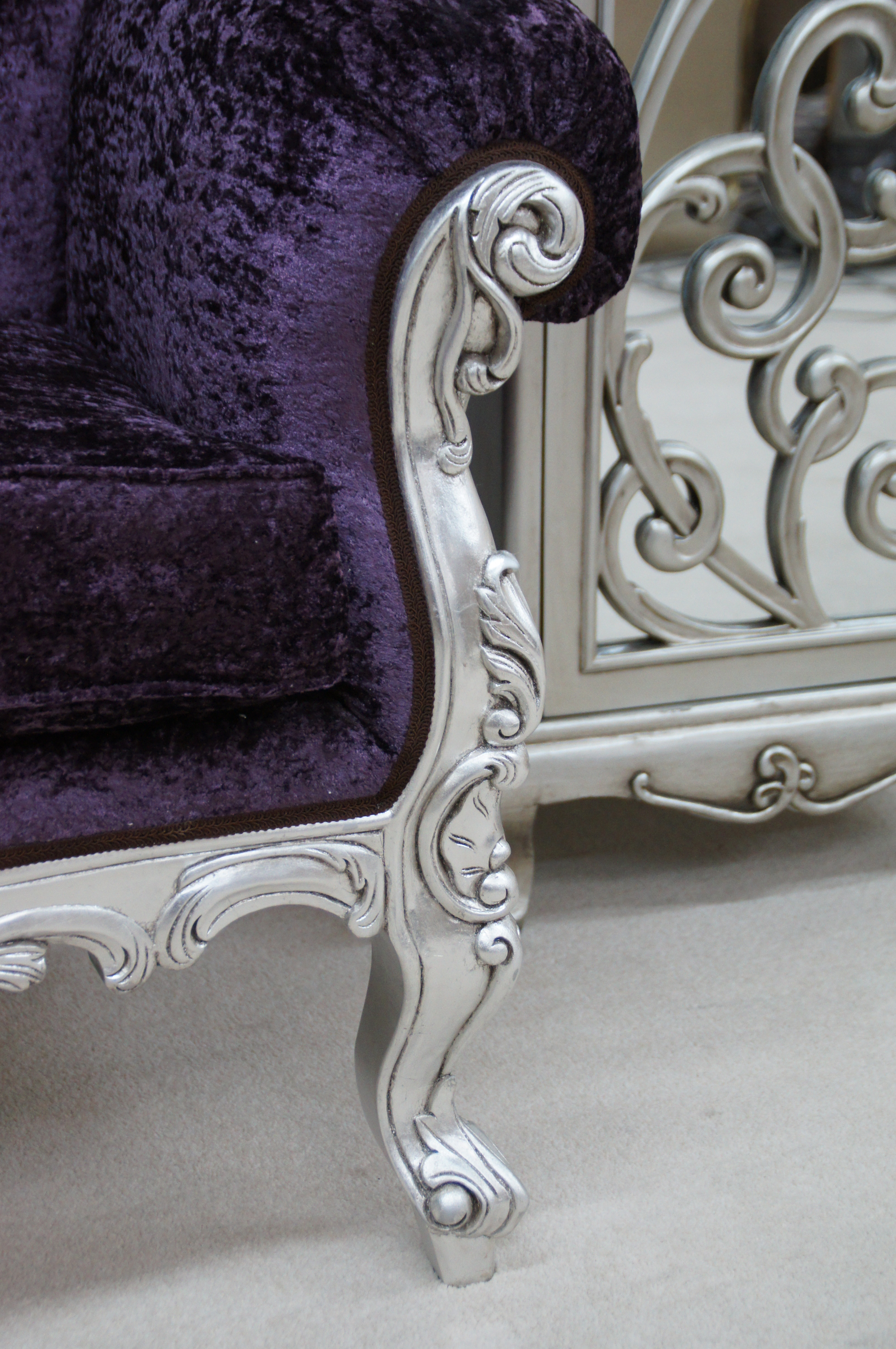 Perfect A CRUSHED VELVET ROCOCO SILVER LEAF PURPLE LOUIS HUGE ARM CHAIR SHOP HOME  DIVA @ £675.00 Qty :