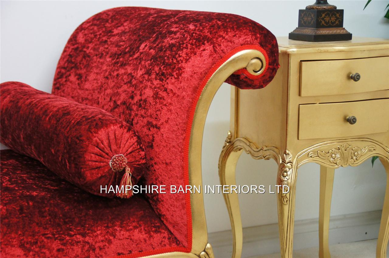 A Day Bed Salon Chaise Longue Shown In Red Crushed Velvet And Antiqued Gold Frame Large Size