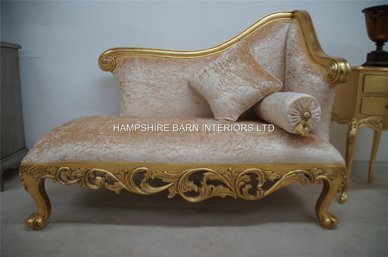 A neoclassical small chaise longue sofa ornate gold leaf for Chaise longue frame