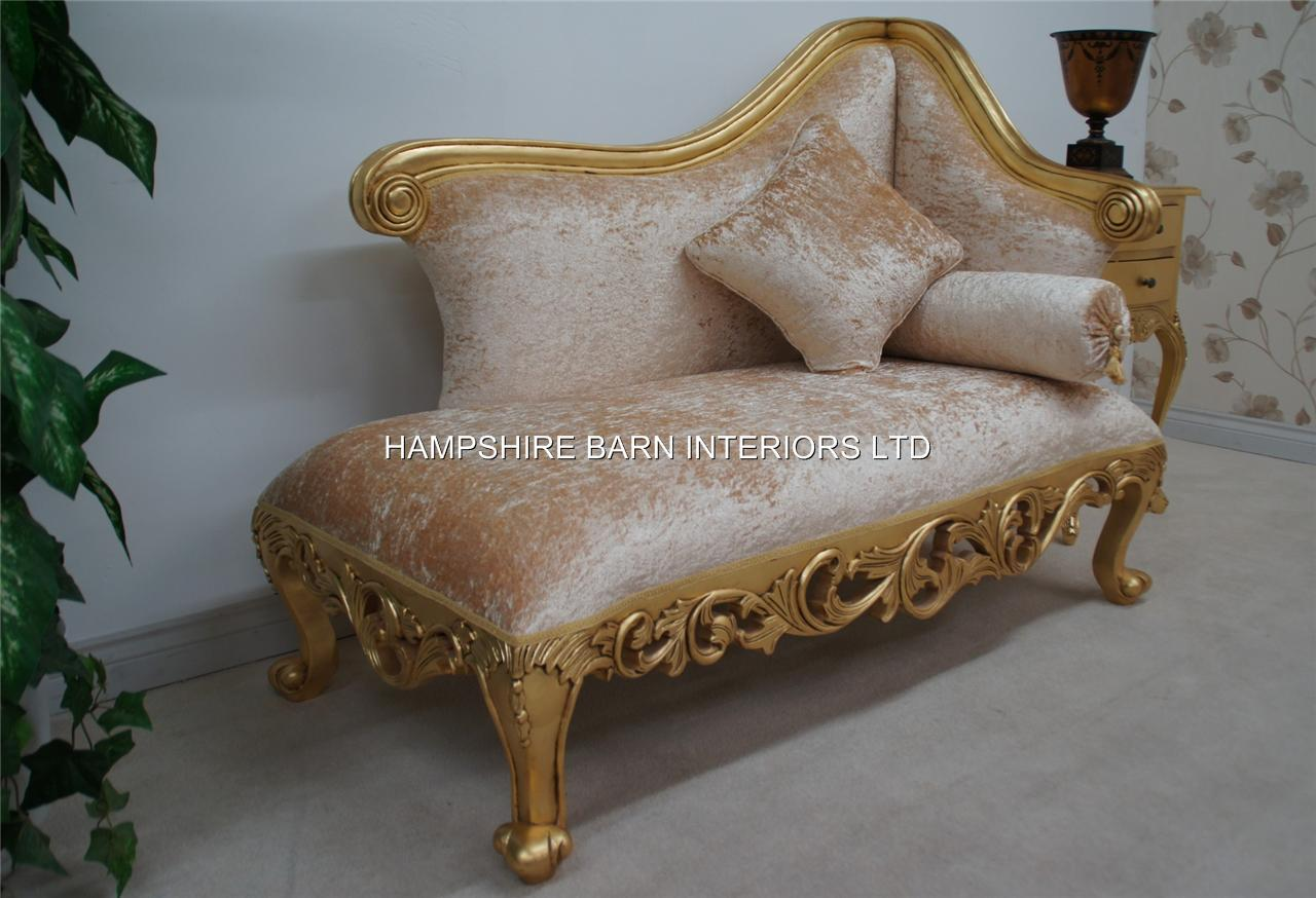 A Neoclassical Small Chaise Longue Sofa Ornate Gold Leaf Frame With