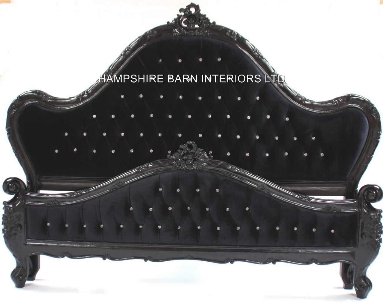 A Charles French Louis Style Bed In Gloss Black And