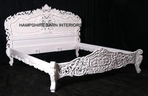 Antique White French Rococo Bed Hampshire Barn Interiors