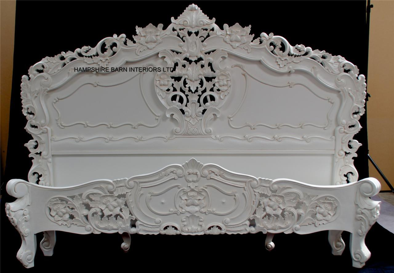 Antique white french rococo bed hampshire barn interiors for French baroque bed