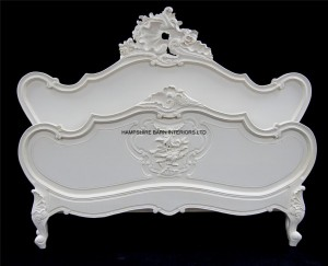 antique white chateau louis style bed ornately carved