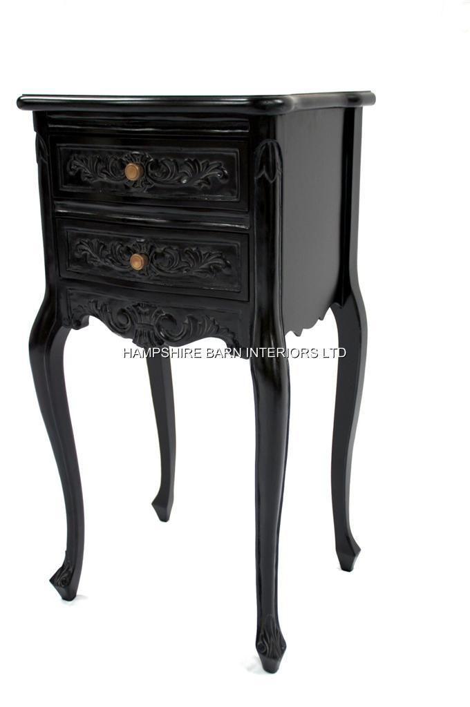 Chateau French Style Black Painted Noir Bedside Cabinet Or Lamp Table 2  Drawers