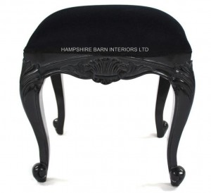 Chateau French Style Black Painted Stool with Black Velvet fabric