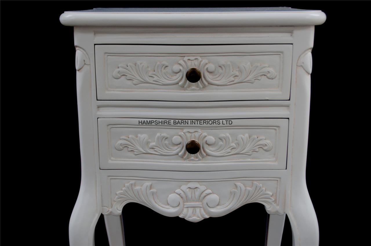 Chateau French Style White Painted Bedside Cabinet Or Lamp