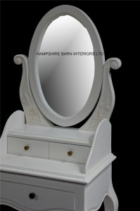 oval mirror small dressing table with stool in antique white