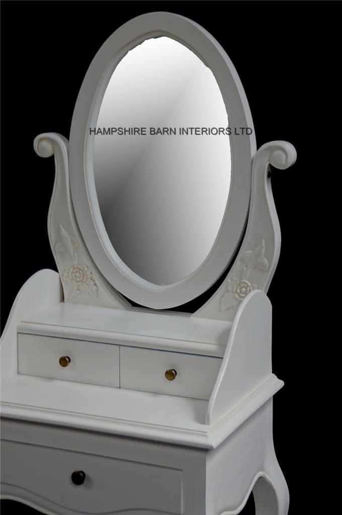 Chateau French Style Antique White Small Dressing Table, Includes OVAL  Mirror And Stool