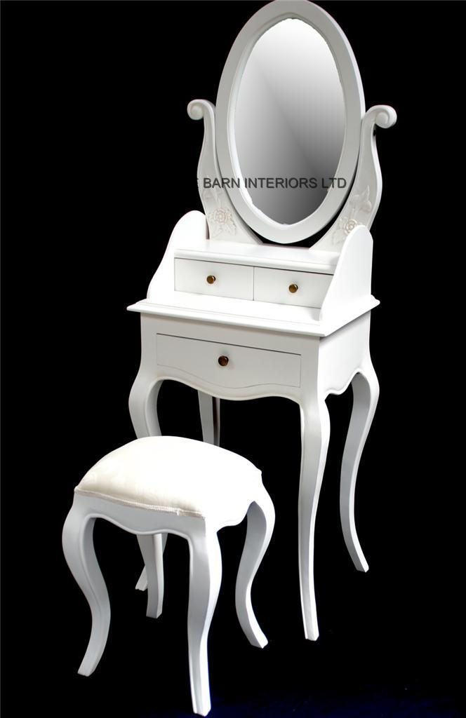 Beau Chateau French Style Antique White Small Dressing Table, Includes OVAL  Mirror And Stool