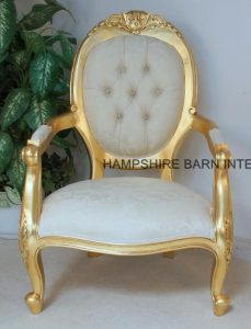 chatworth chair gold with ivory cream fabric with crystals