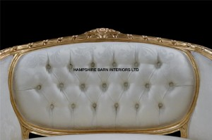 2 Double Ended Gold & Ivory French Louis Ornate Chaise Longue Sofa Home Salon