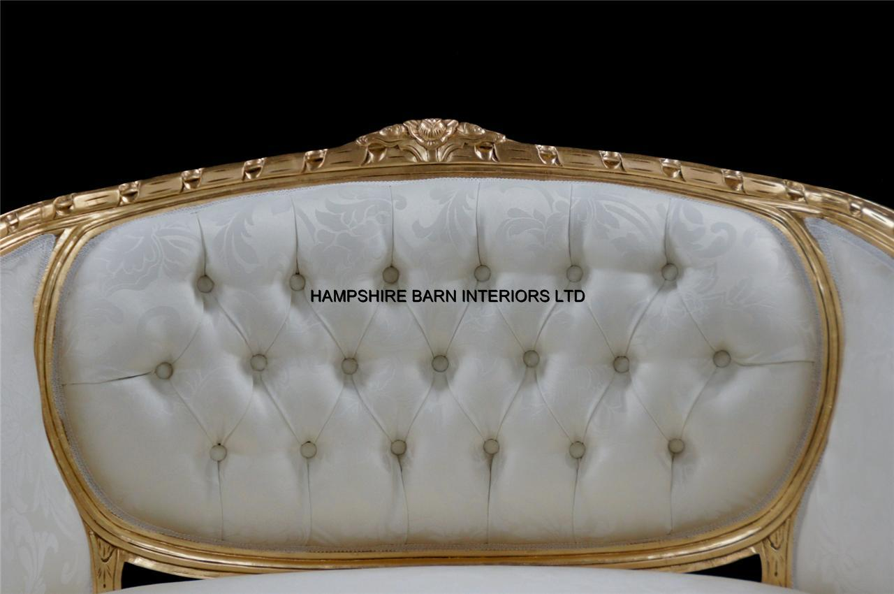 A double ended gold ivory french louis ornate chaise for Chaise longue de salon