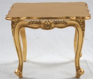 A Gold Leaf Ornate Chateau Style Side / Lamp Table