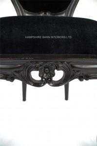 4 French Chateau Noir Style Ornate Chair Black Velvet .....Bedroom, Boudoir,dining, desk, dressing table or occasional