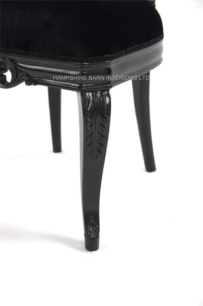 French chateau noir style ornate chair black velvet for Dining table dressing