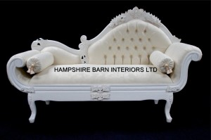 A French Chateau Style Ornate Amberley Medium Chaise Longue in Antique White and ivory fabric