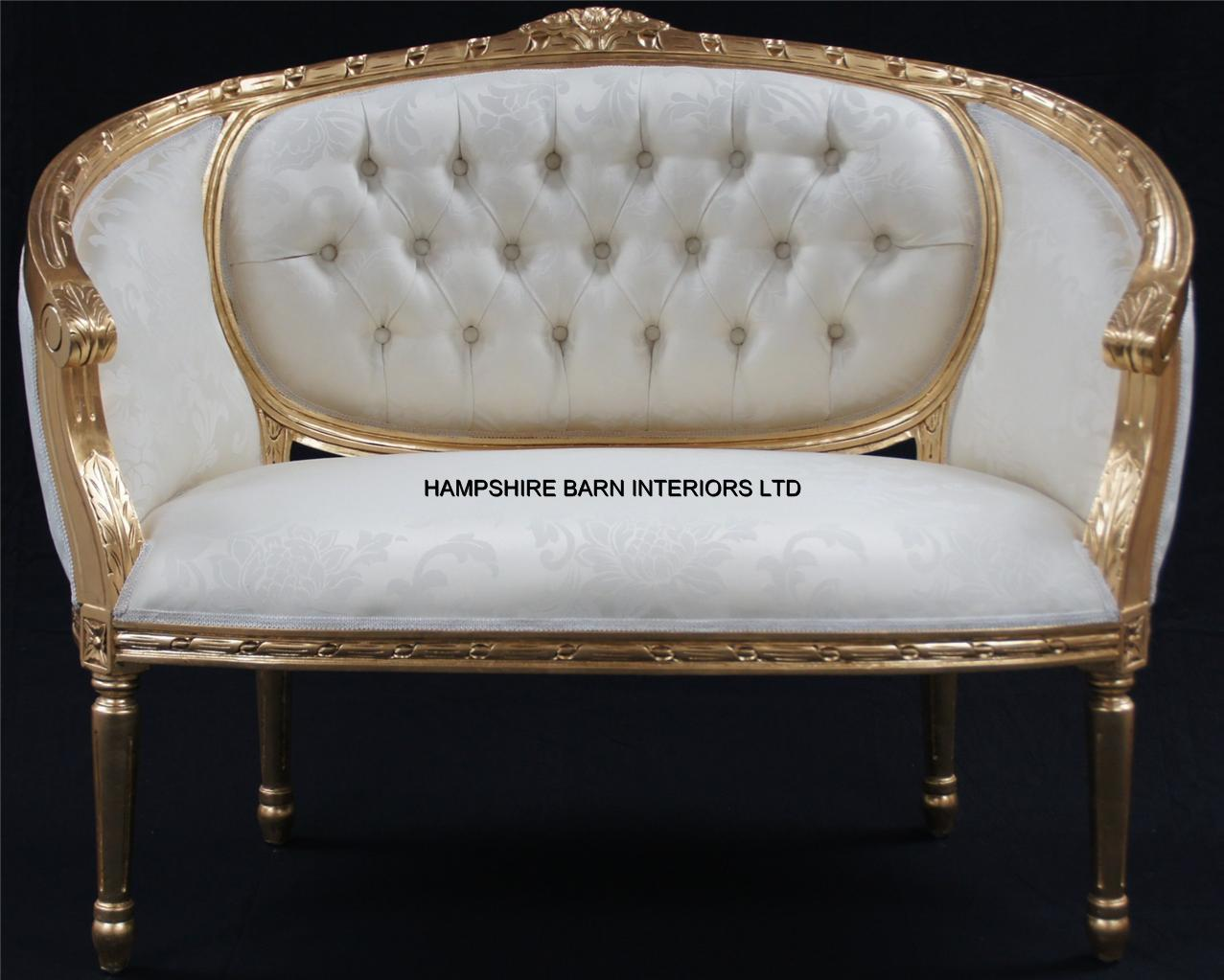 A double ended gold ivory french louis ornate chaise for Chaise longue salon