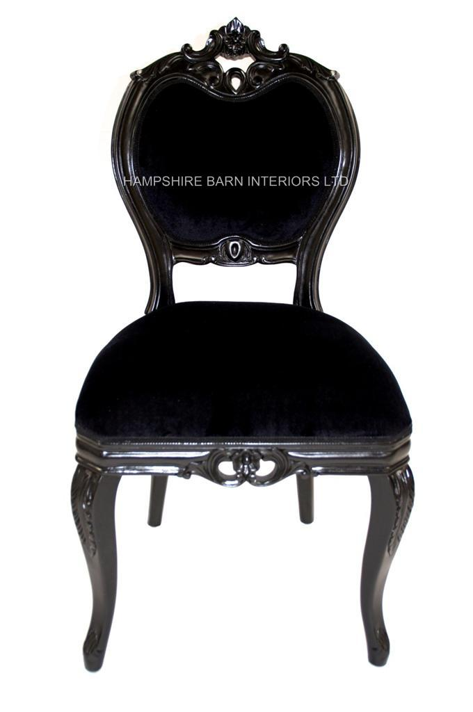 French chateau noir style ornate chair black velvet for Bedroom table chairs