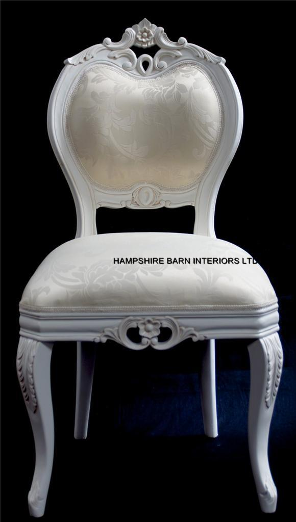 Chateau French Style Boudoir Ornate White Chair Dining