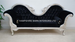 A Double Ended silver black velvet French Hampshire Ornate Chaise Longue Sofa Home Salon