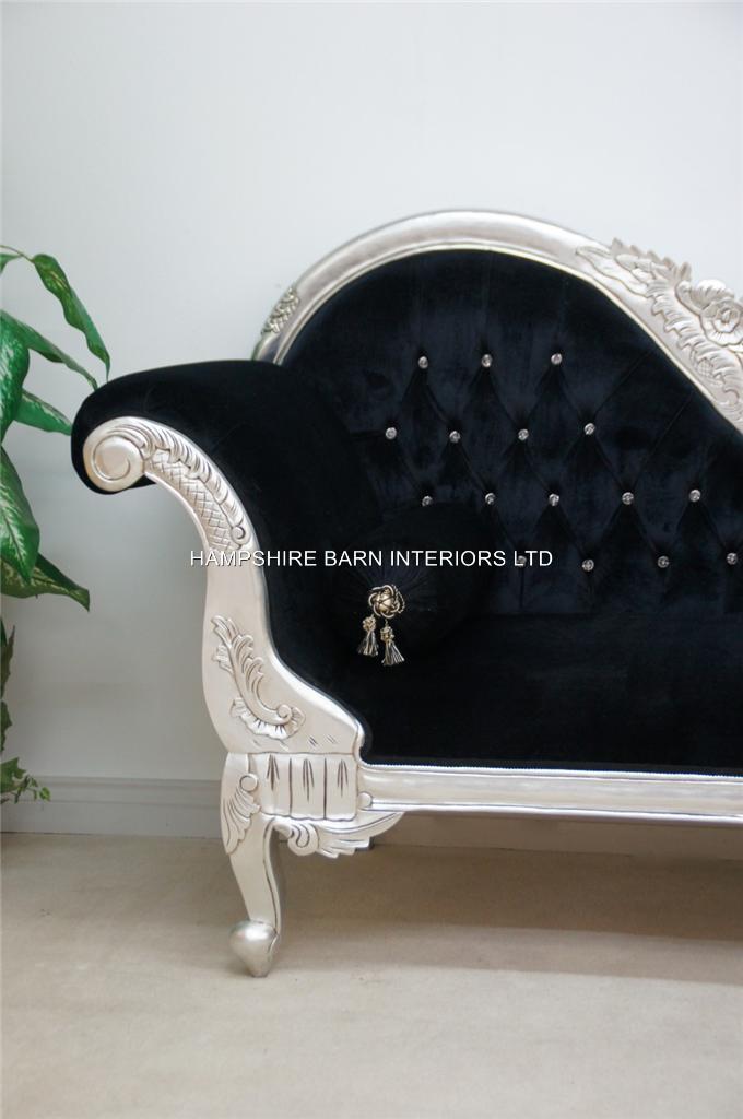 A double ended silver black velvet french hampshire - Chaise longue de salon ...