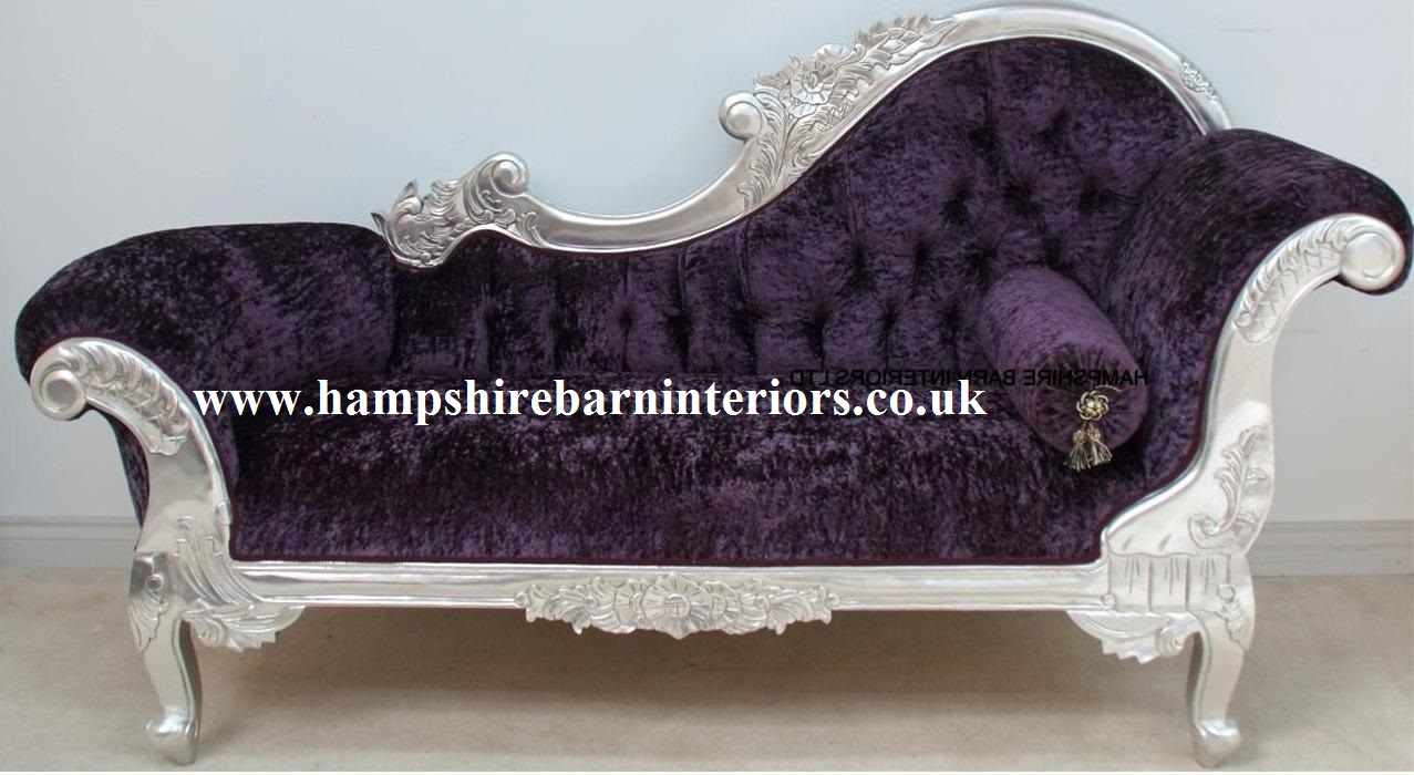 A beautiful silver leaf and purple crushed velvet for French furniture designers modern