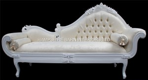 A French Chateau Style Ornate Amberley LARGE Chaise Longue in Antique White and ivory fabric