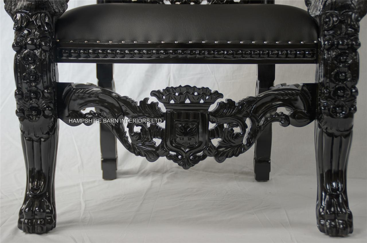 Black Gothic Lion Throne Chair Sexy Black Faux Leather With Silver