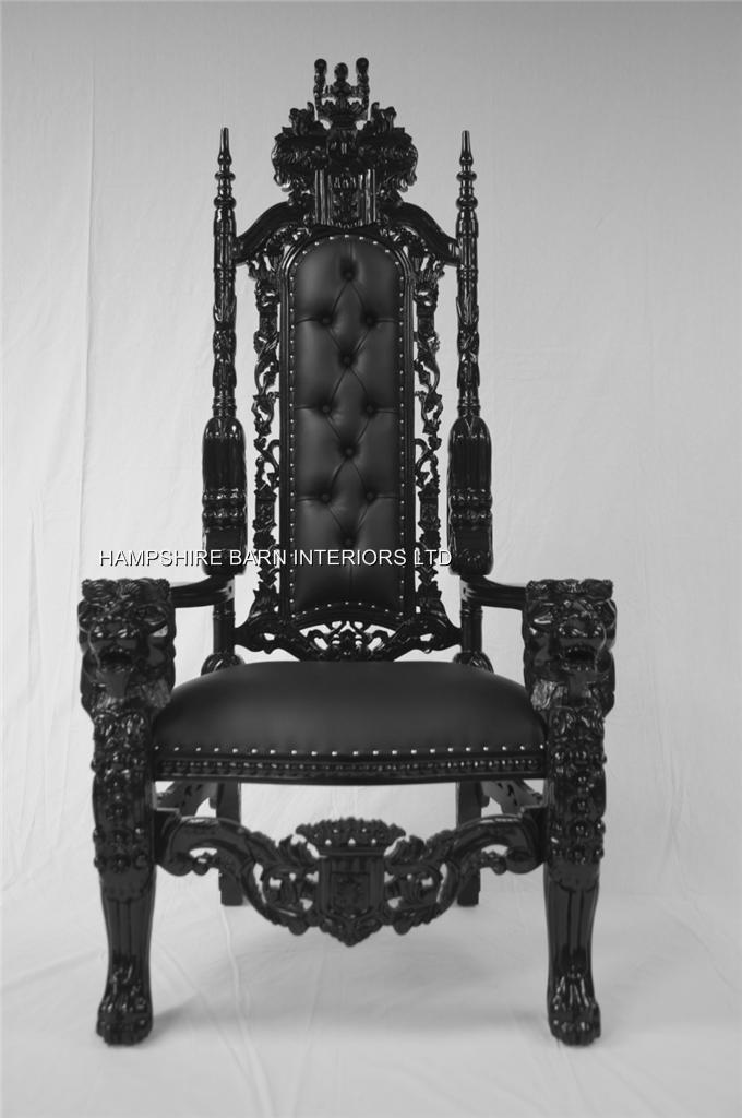 BLACK GOTHIC LION THRONE CHAIR SEXY BLACK FAUX LEATHER  : LARGE BLACK GOTHIC THRONE CHAIR SEXY BLACK FAUX LEATHER from www.hampshirebarninteriors.co.uk size 680 x 1024 jpeg 64kB