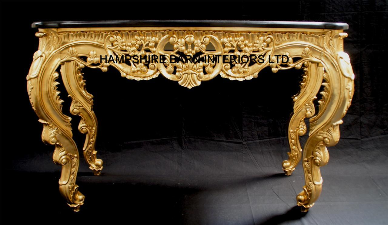 Ritz Gold Leaf Ornate Console Table W Black Marble Top