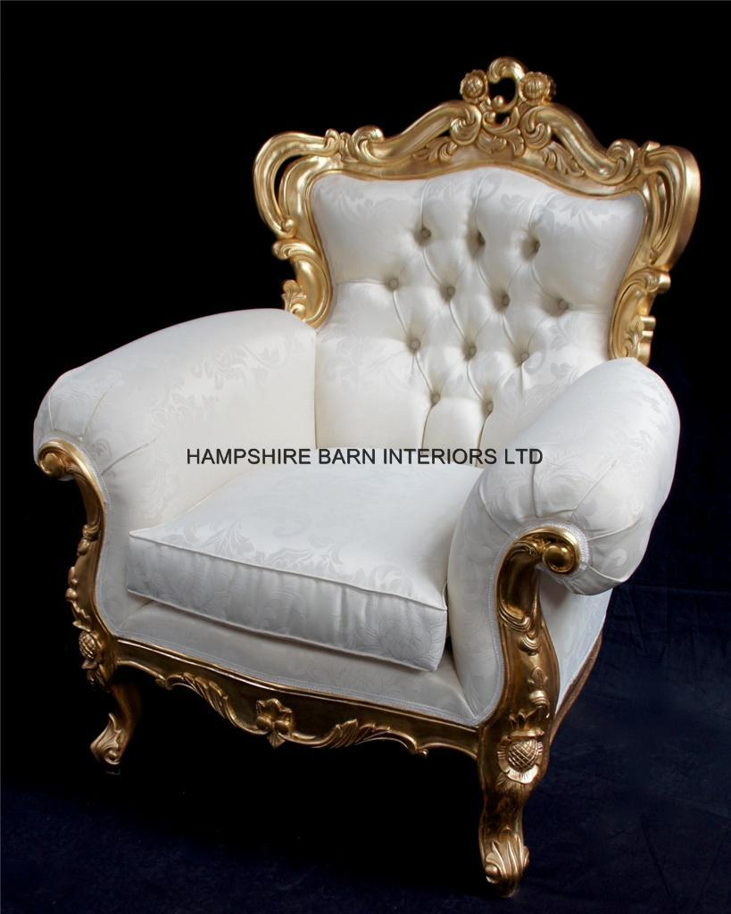 A Shaadi Sofa And Two Armchairs In Gold And Cream Ivory Hampshire Barn Interiors