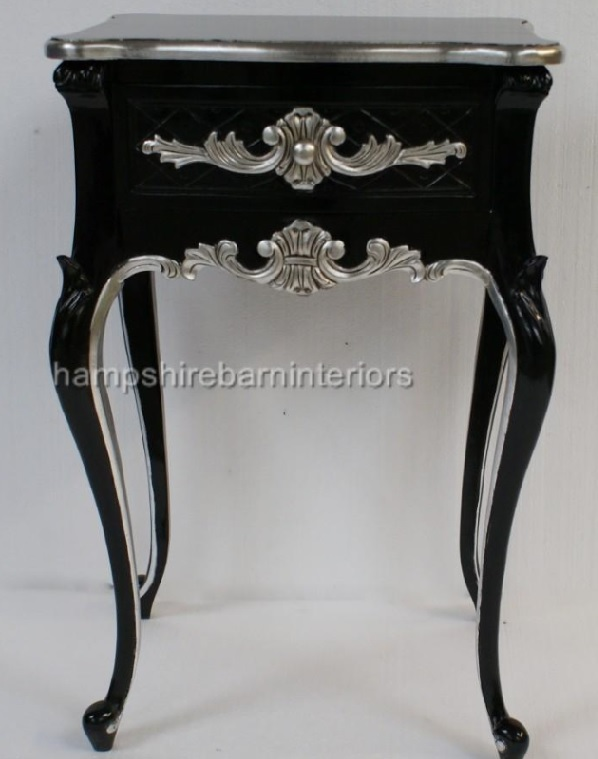 A Beautiful One Drawer Ornate Black Amp Silver Side Cabinet
