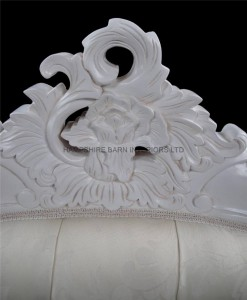 Charles Ornate French Louis Bed in Antique white and ivory cream upholstery with crystal buttons