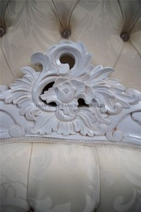 Charles Ornate French Louis Bed in Antique white and ivory cream upholstery with crystal buttons3