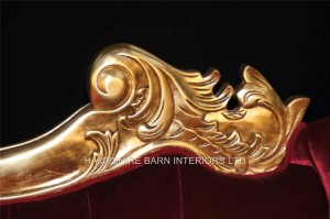gold large ornate hampshire chaise longue red velvet by hampshire barn interiors2
