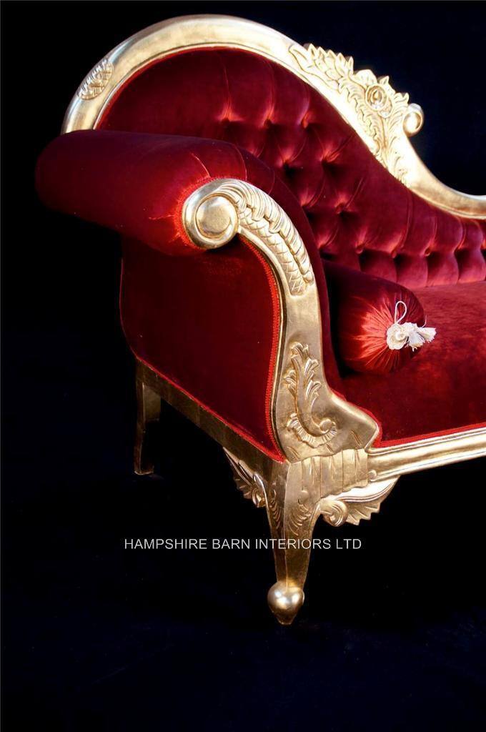 A Beautiful Large Gold Leaf Red Velvet Hampshire Chaise Longue Stunning Hampshire Barn Interiors