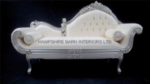 amberley chaise longue ornate silver leaf with creamy white faux leather