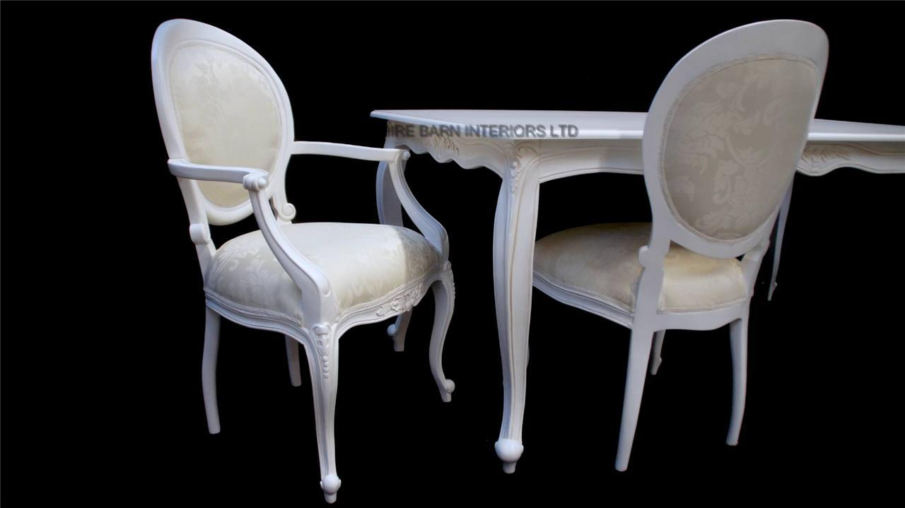 French Chic White Ornate Dining Table Set With 6 Chairs